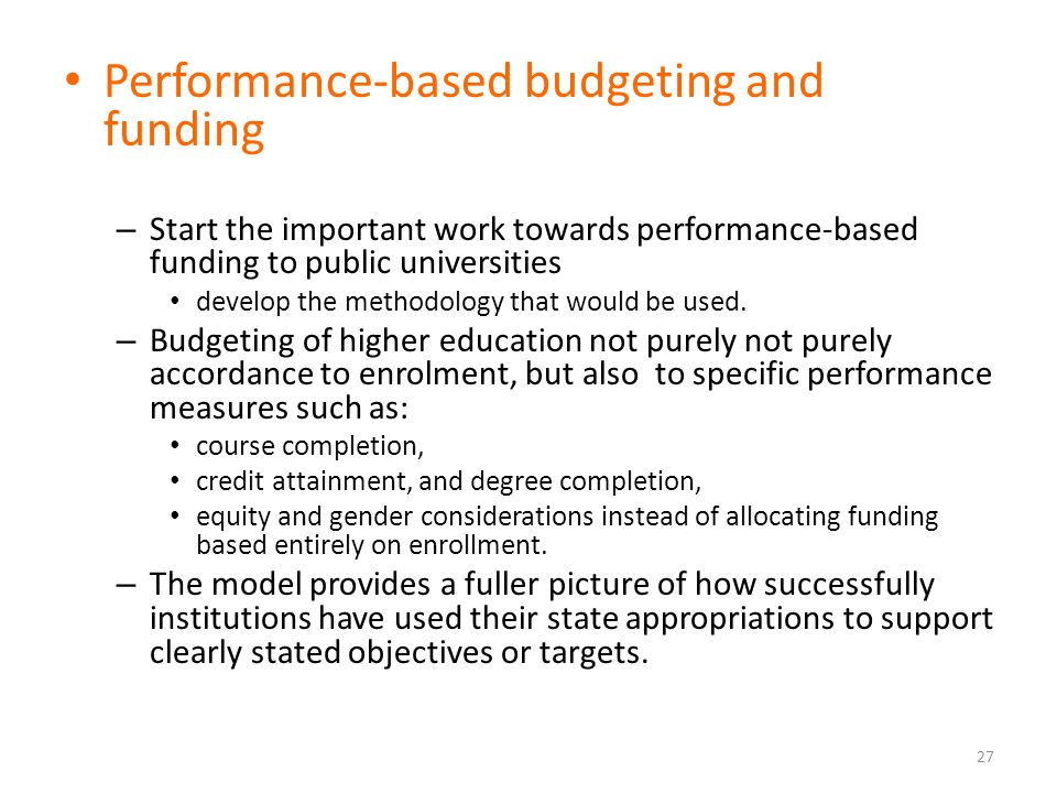 Performance-based budgeting and funding