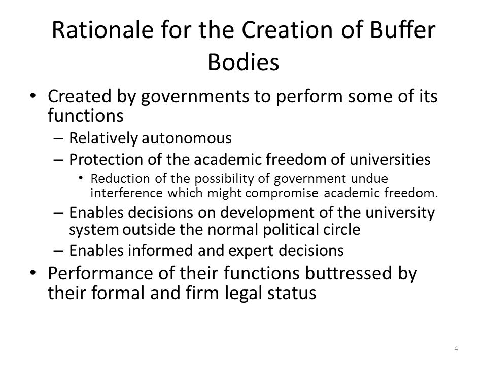 Rationale for the Creation of Buffer Bodies