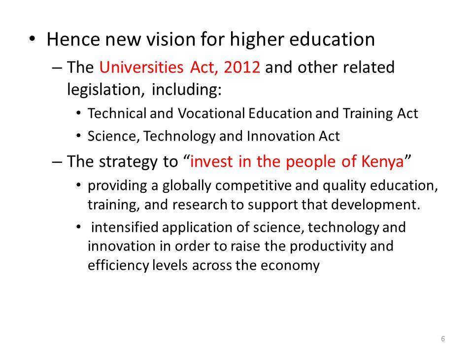 Hence new vision for higher education