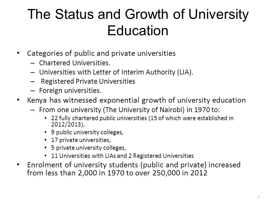 The Status and Growth of University Education