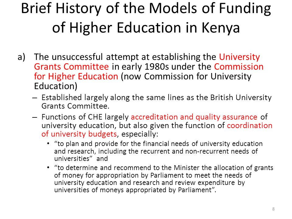 Brief History of the Models of Funding of Higher Education in Kenya