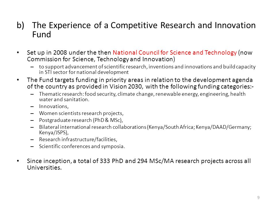 The Experience of a Competitive Research and Innovation Fund