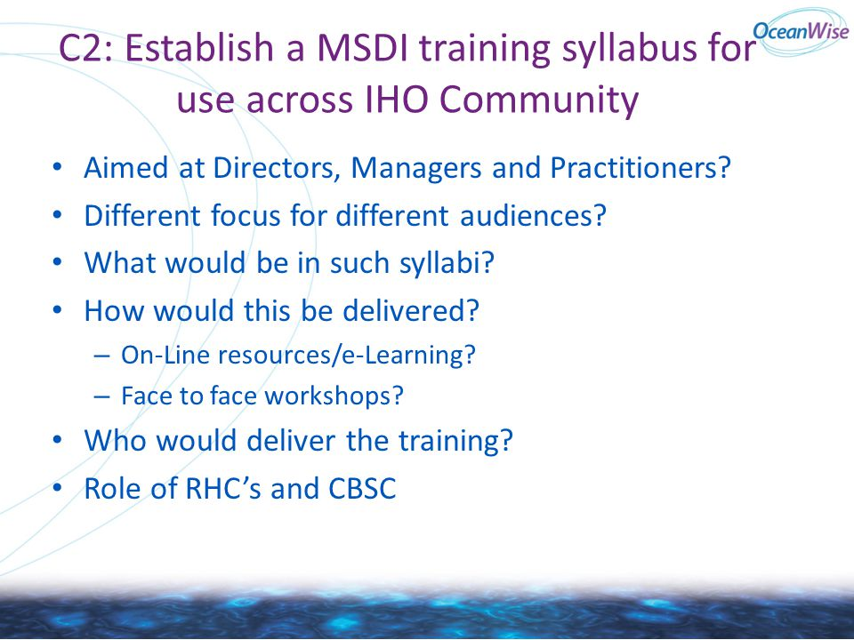C2: Establish a MSDI training syllabus for use across IHO Community