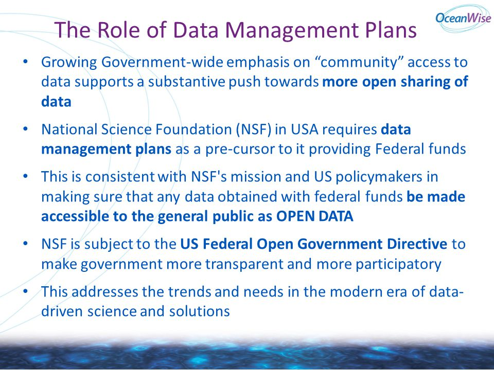 The Role of Data Management Plans