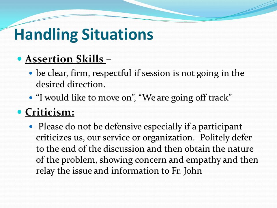 Handling Situations Assertion Skills – Criticism: