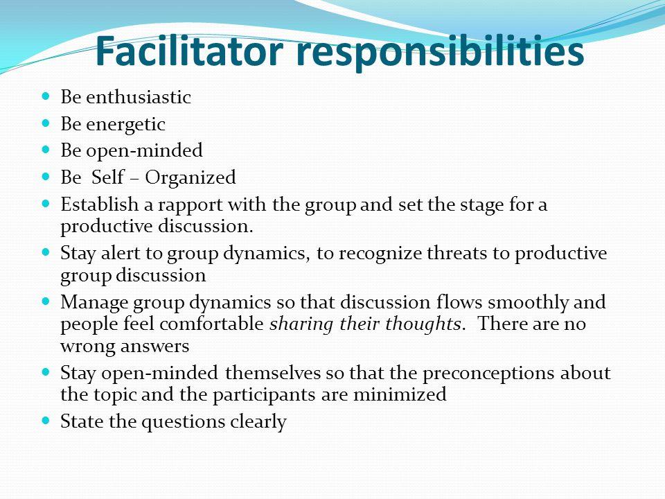 Facilitator responsibilities