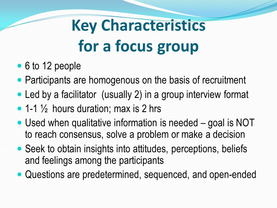 Key Characteristics for a focus group