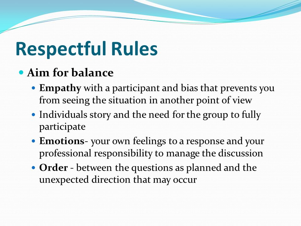 Respectful Rules Aim for balance