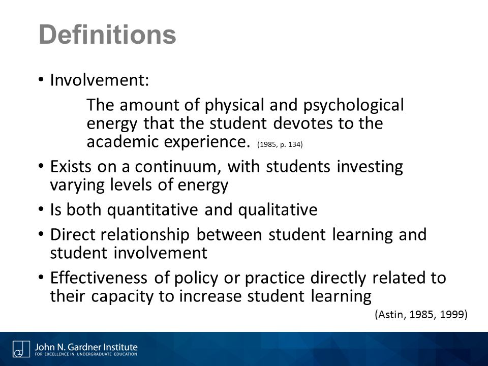 Definitions Involvement: