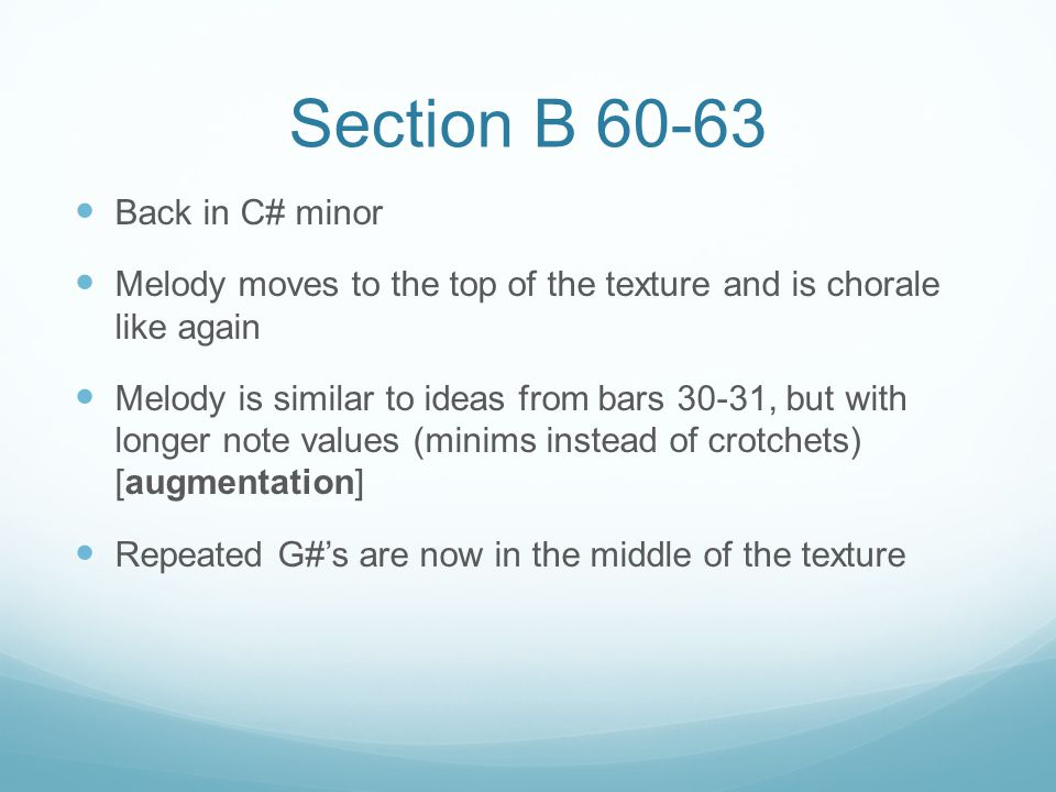 Section B 60-63 Back in C# minor