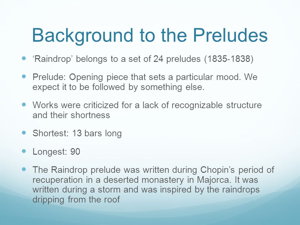 Background to the Preludes