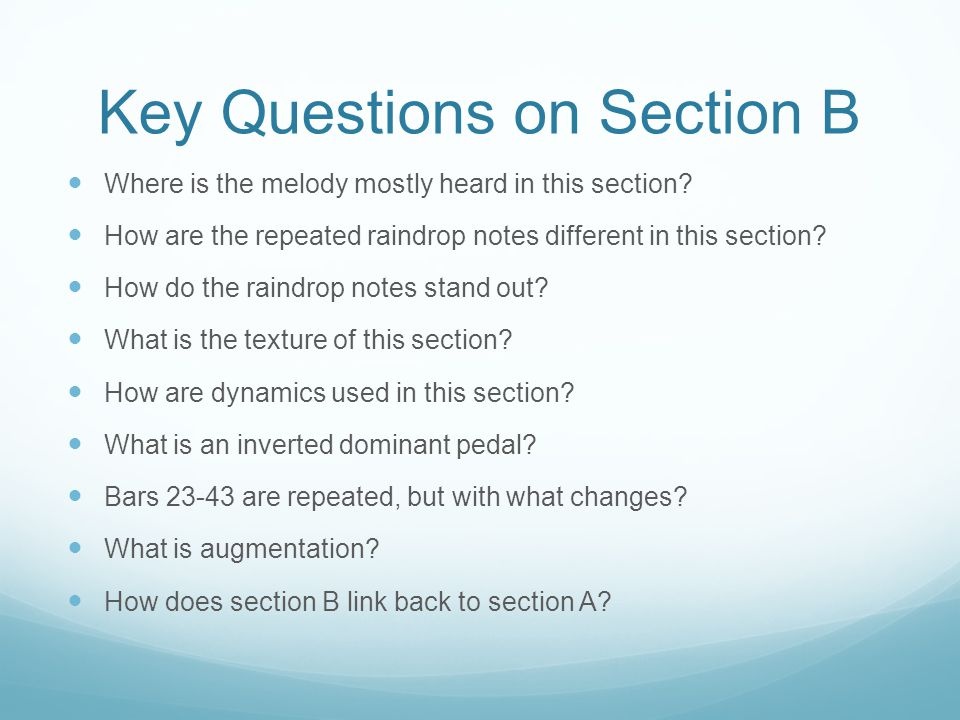 Key Questions on Section B