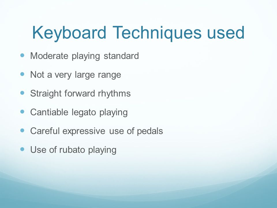 Keyboard Techniques used