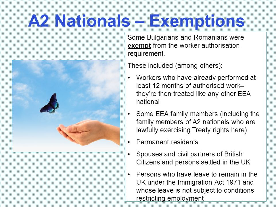 A2 Nationals – Exemptions