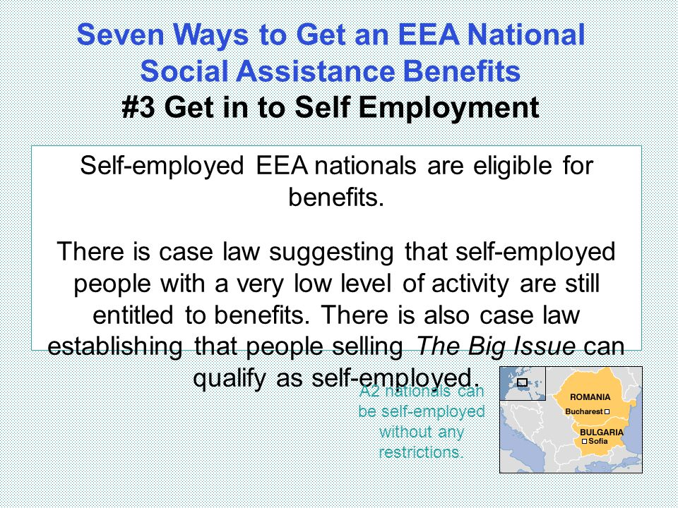 A2 nationals can be self-employed without any restrictions.