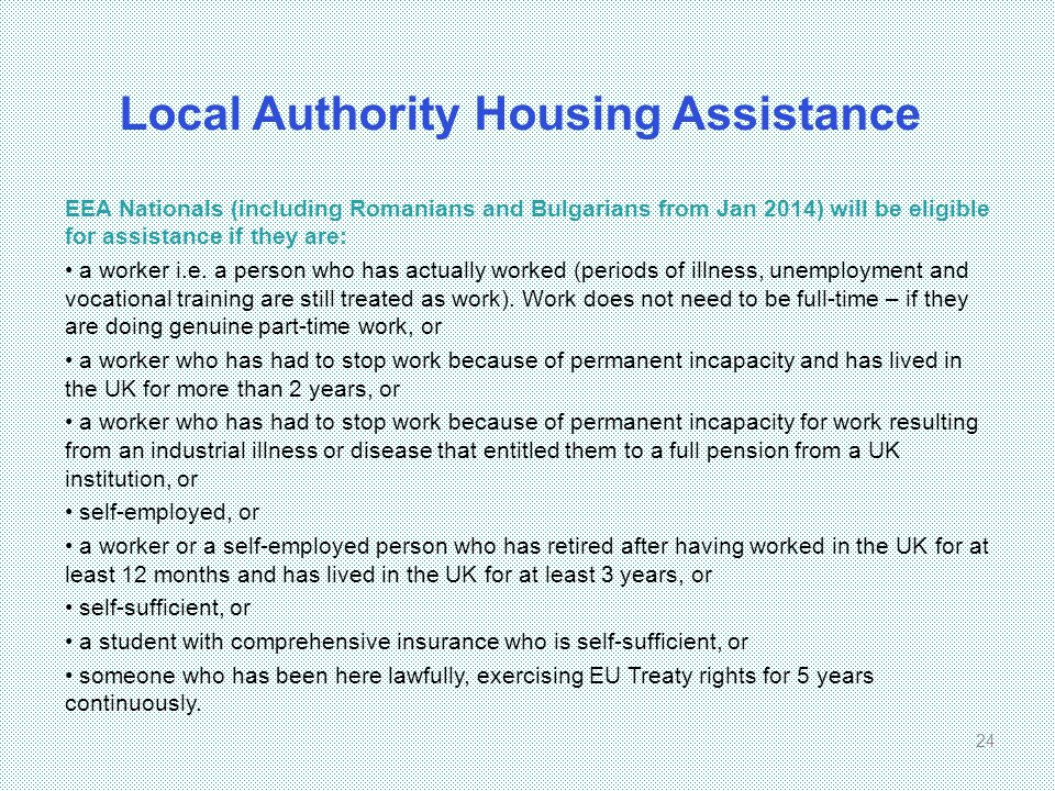 Local Authority Housing Assistance