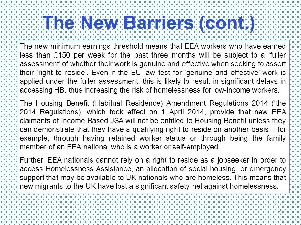 The New Barriers (cont.)