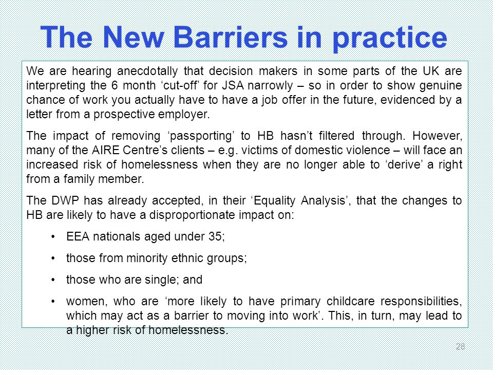 The New Barriers in practice