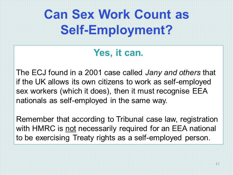 Can Sex Work Count as Self-Employment