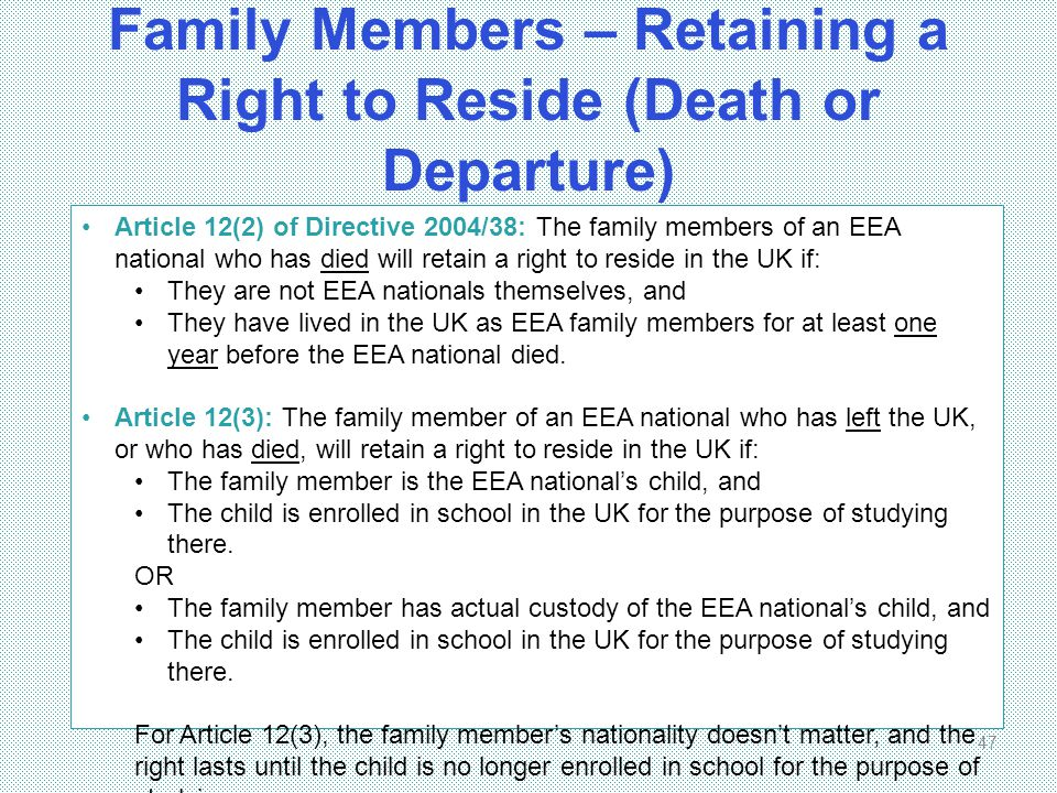 Family Members – Retaining a Right to Reside (Death or Departure)