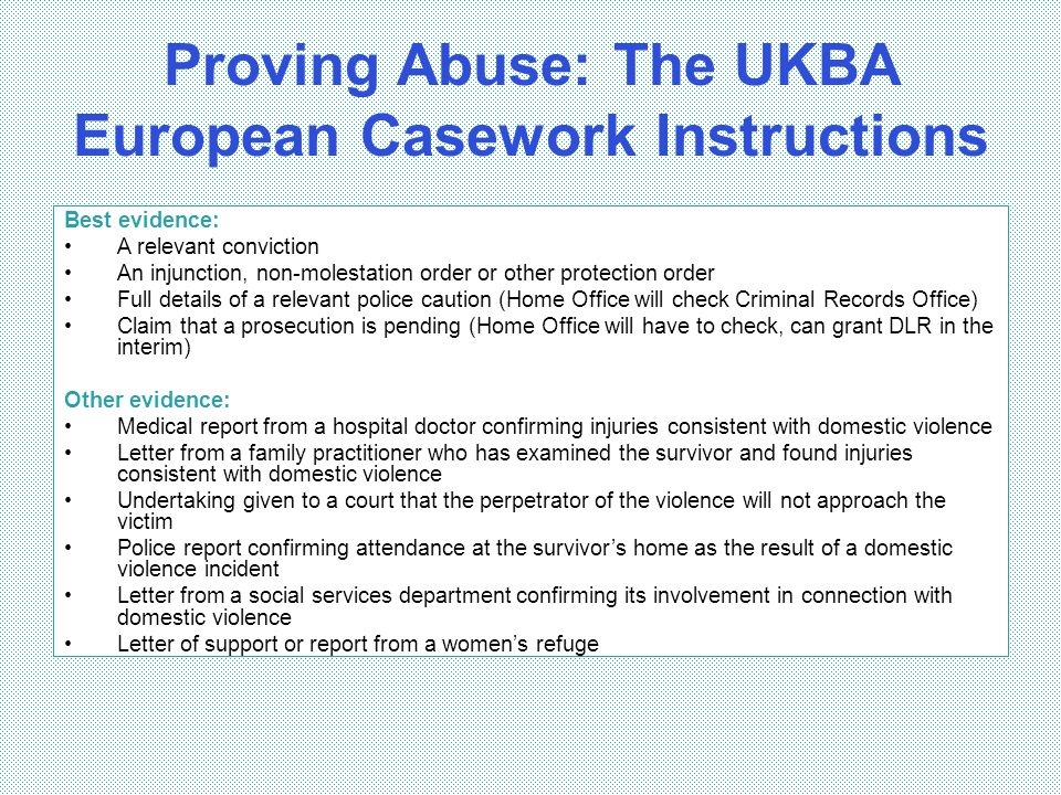 Proving Abuse: The UKBA European Casework Instructions