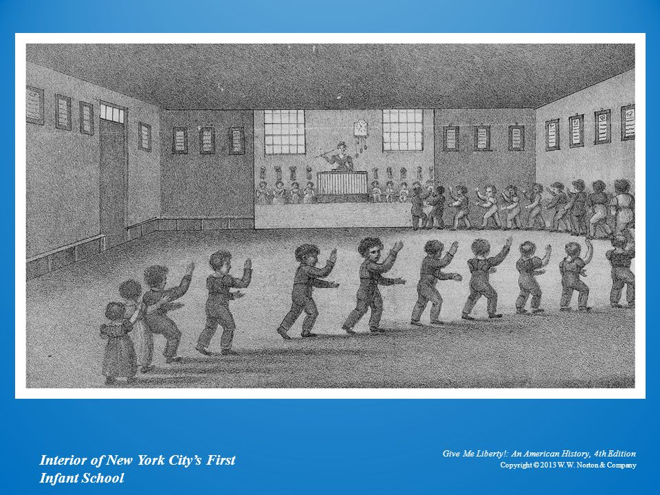 Lithograph Interior of New York City's First Infant School