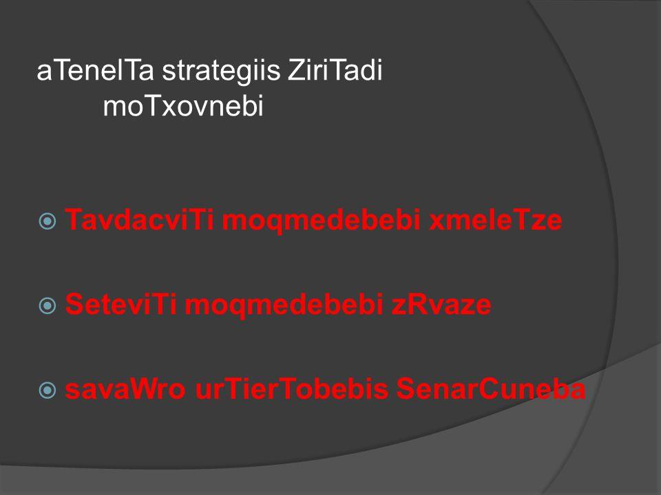 aTenelTa strategiis ZiriTadi moTxovnebi
