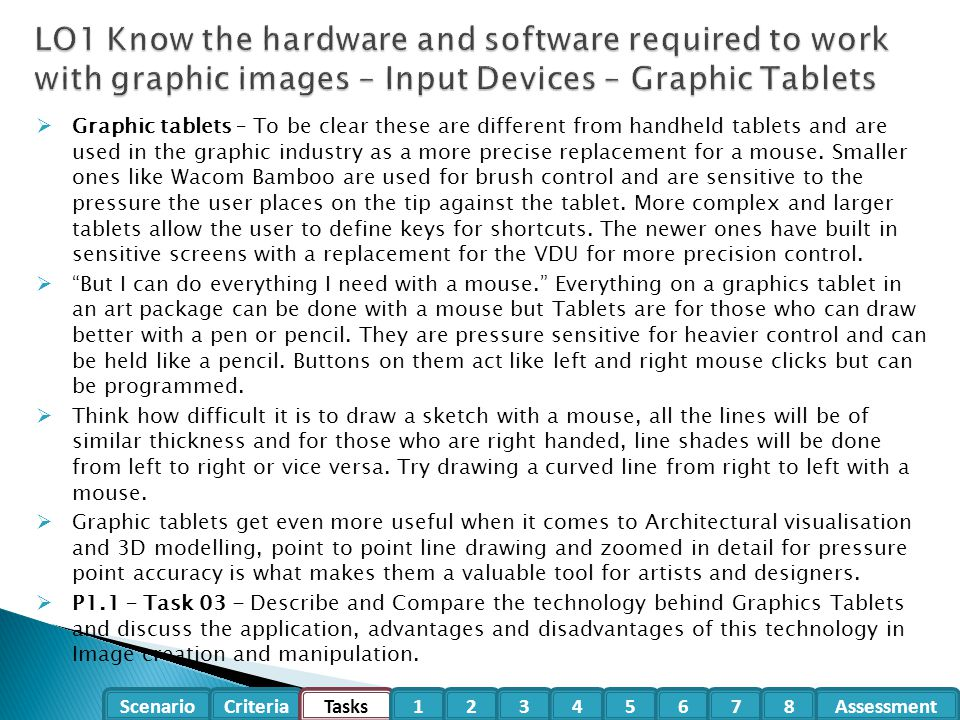 LO1 Know the hardware and software required to work with graphic images – Input Devices – Graphic Tablets