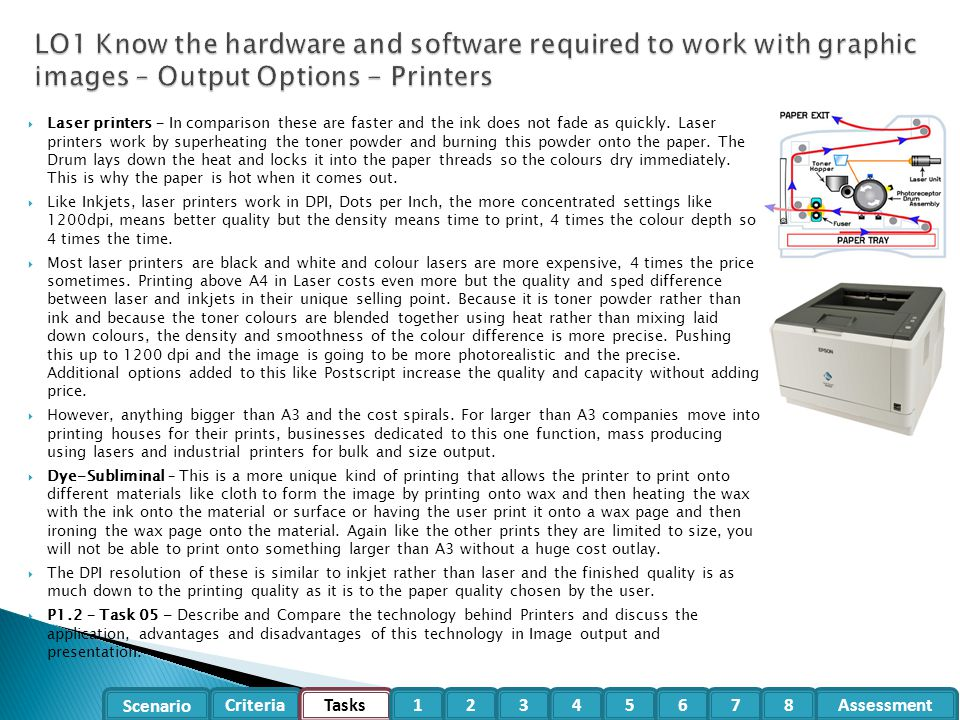 LO1 Know the hardware and software required to work with graphic images – Output Options - Printers