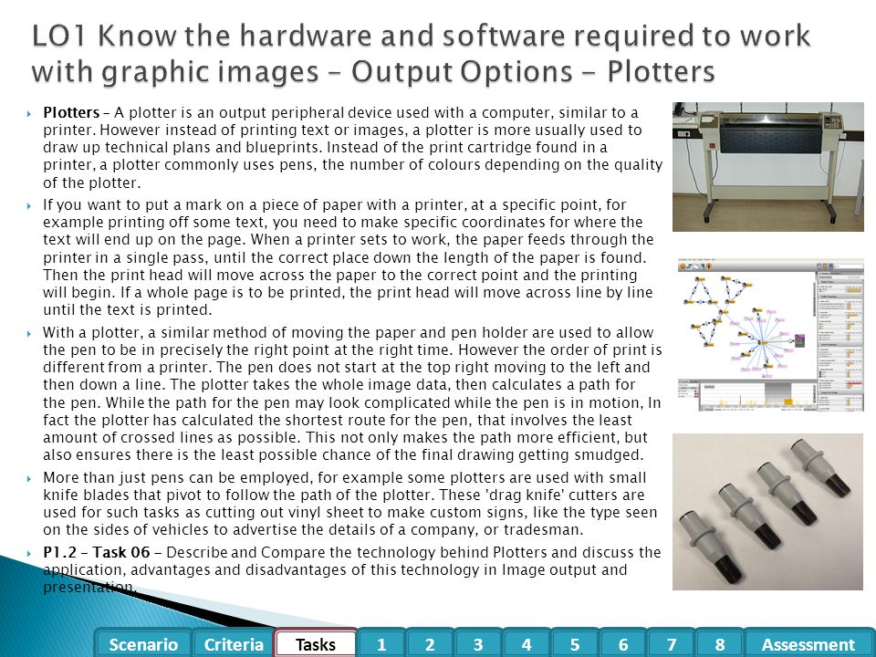 LO1 Know the hardware and software required to work with graphic images – Output Options - Plotters