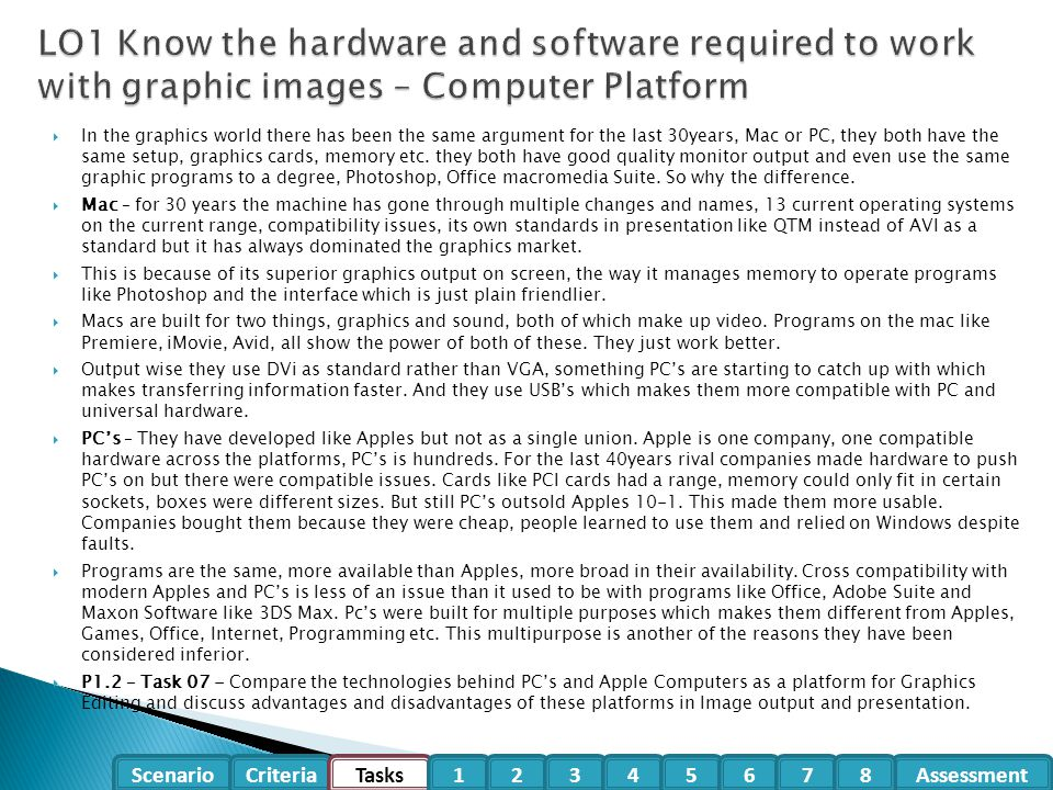 LO1 Know the hardware and software required to work with graphic images – Computer Platform