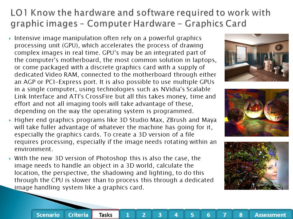 LO1 Know the hardware and software required to work with graphic images – Computer Hardware – Graphics Card