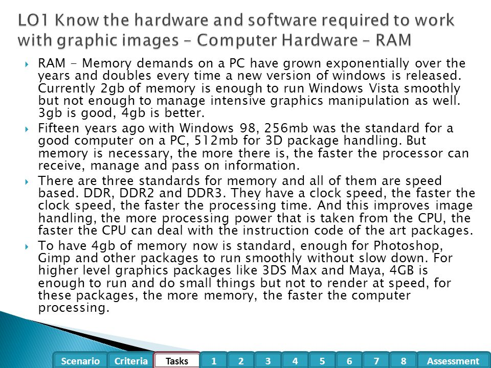 LO1 Know the hardware and software required to work with graphic images – Computer Hardware – RAM