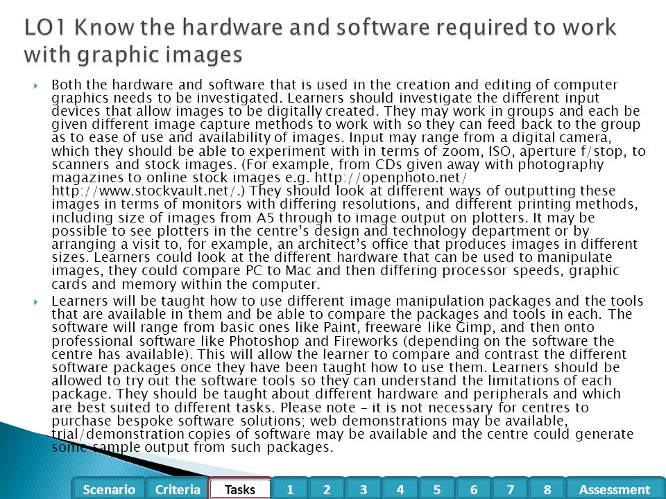 LO1 Know the hardware and software required to work with graphic images