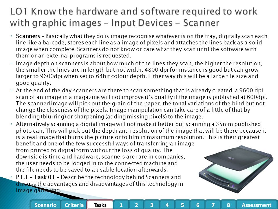 LO1 Know the hardware and software required to work with graphic images – Input Devices - Scanner