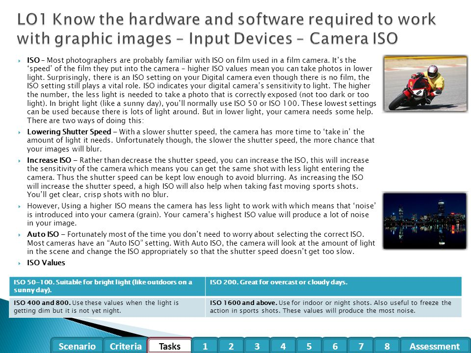 LO1 Know the hardware and software required to work with graphic images – Input Devices – Camera ISO