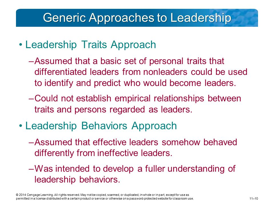 Generic Approaches to Leadership