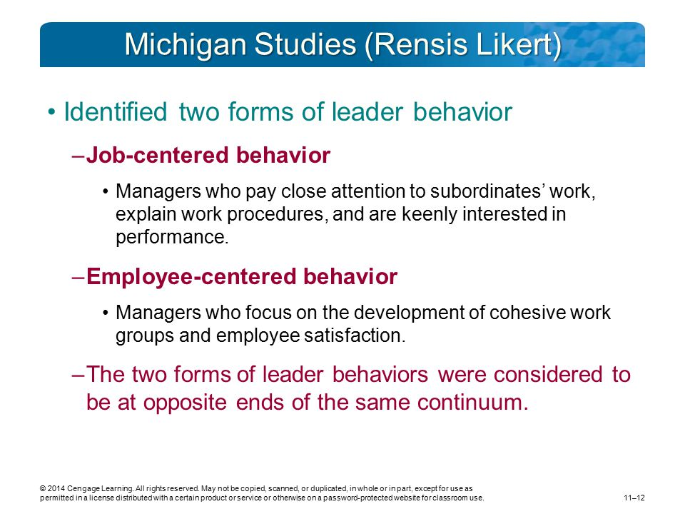 Michigan Studies (Rensis Likert)