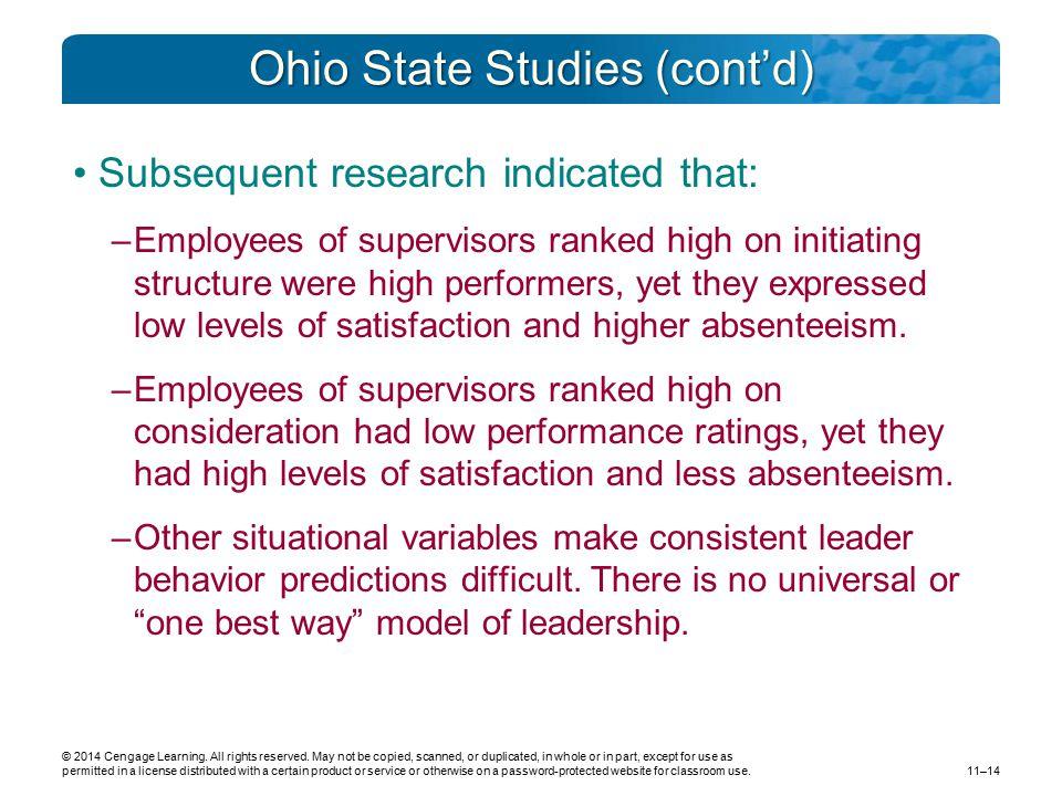 Ohio State Studies (cont'd)