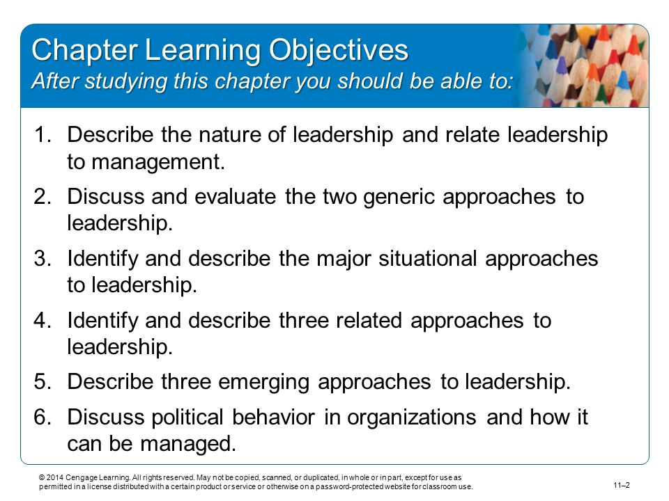Chapter Learning Objectives After studying this chapter you should be able to: