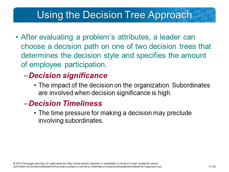 Using the Decision Tree Approach