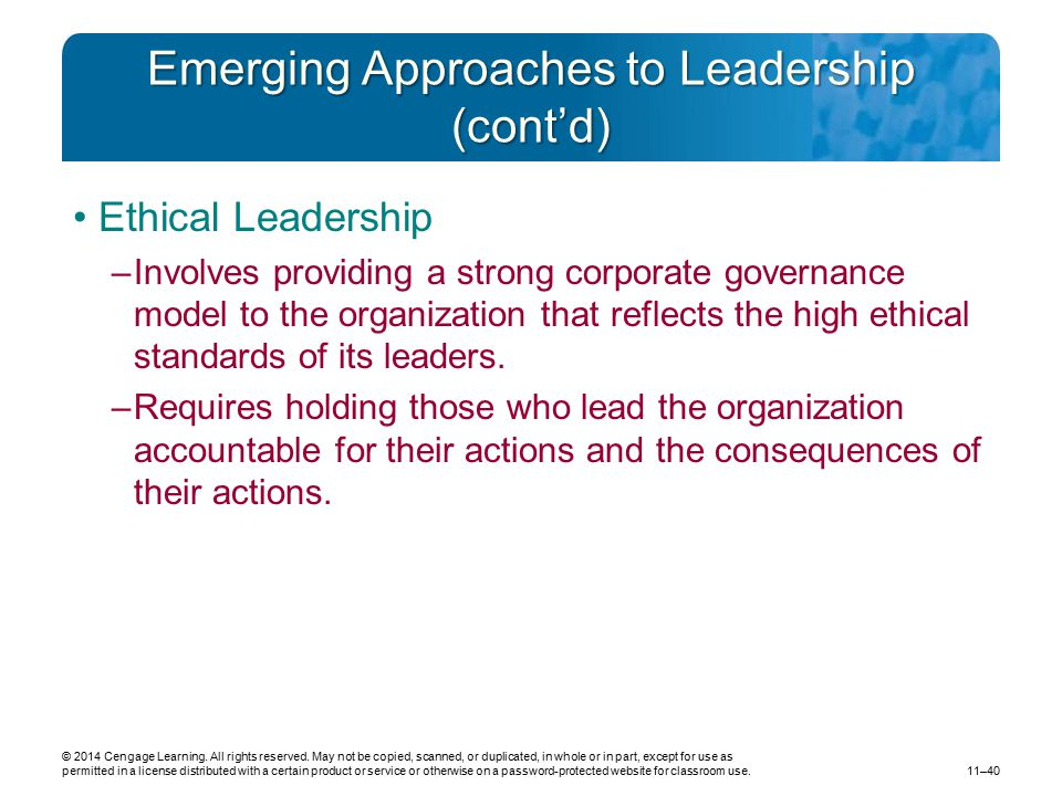 Emerging Approaches to Leadership (cont'd)