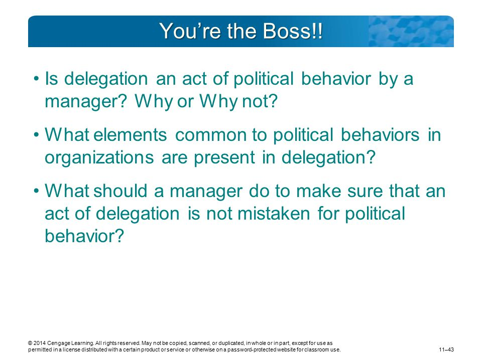 You're the Boss!! Is delegation an act of political behavior by a manager Why or Why not