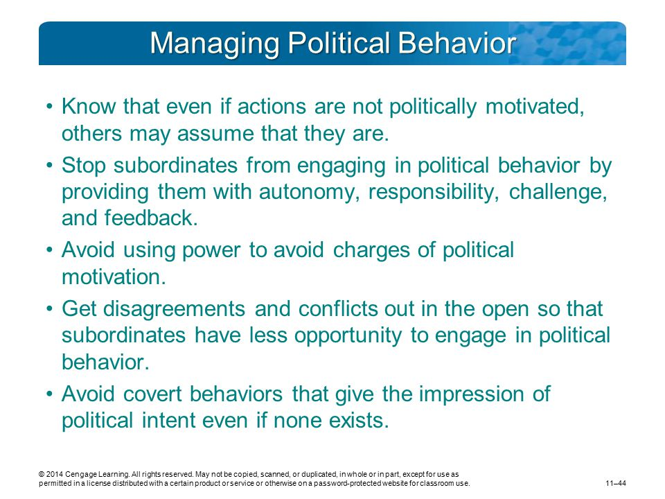 Managing Political Behavior