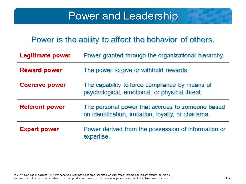 Power is the ability to affect the behavior of others.