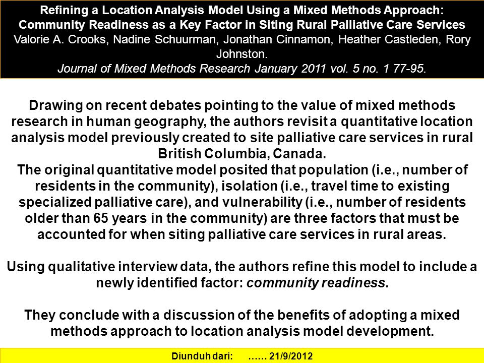 Journal of Mixed Methods Research January 2011 vol. 5 no. 1 77-95.