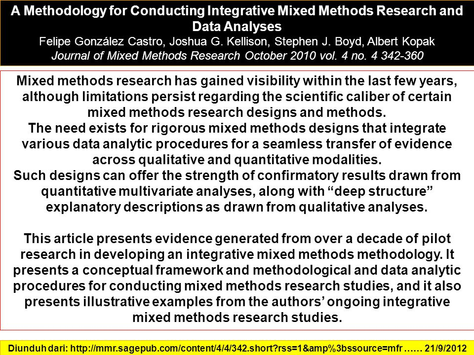 Journal of Mixed Methods Research October 2010 vol. 4 no. 4 342-360