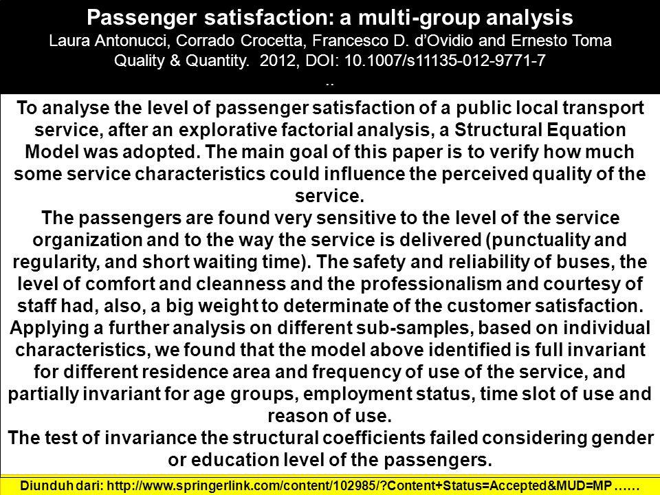 Passenger satisfaction: a multi-group analysis