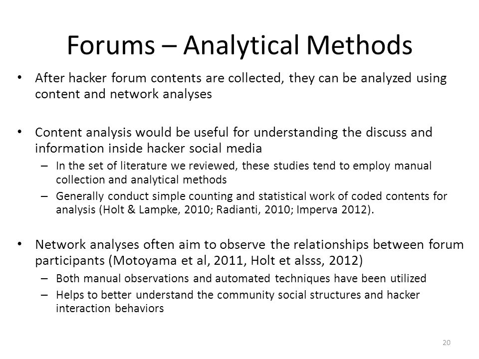 Forums – Analytical Methods