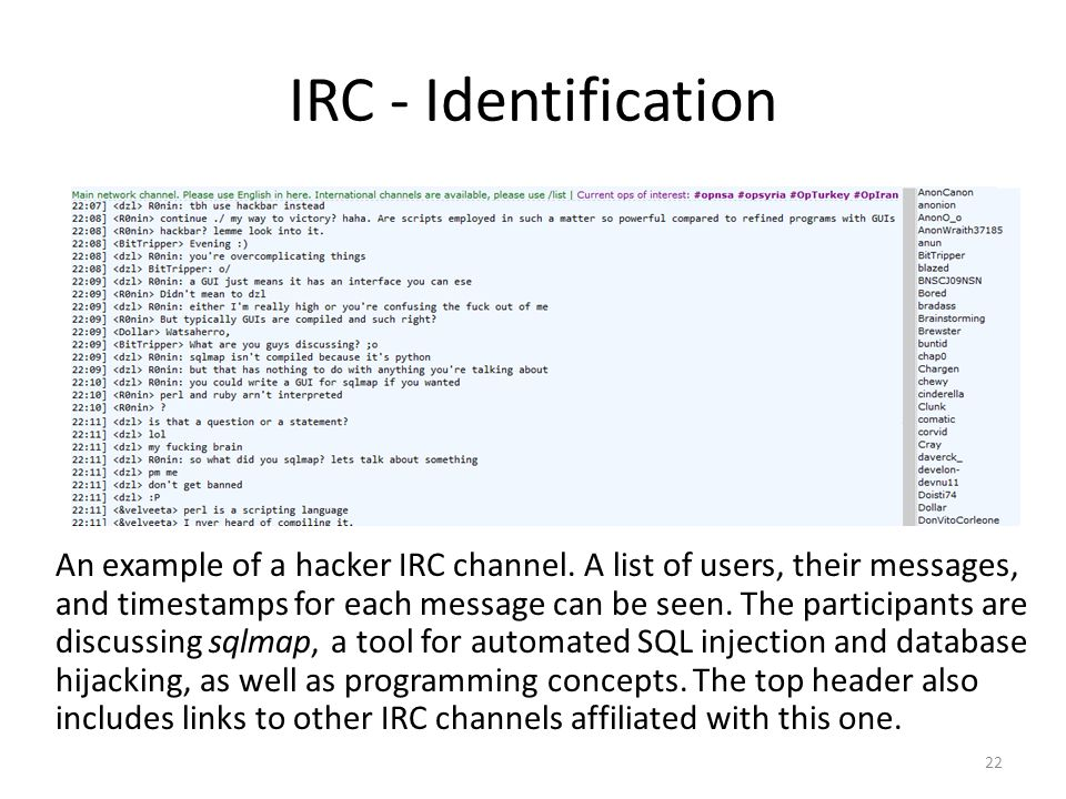 IRC - Identification